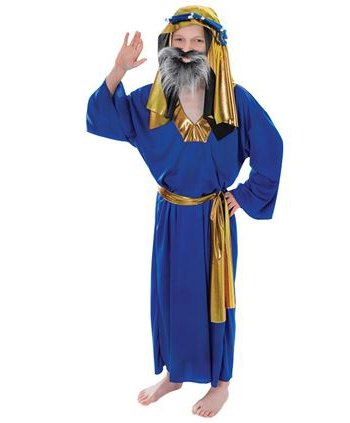 Kerstmis Drie Koningen blauw kostuum