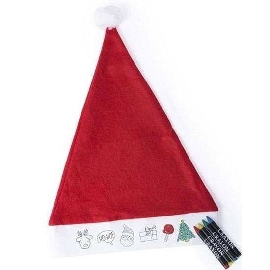 Kerstmuts voor kinderen inkleurbaar inclusief 4 waskrijtjes