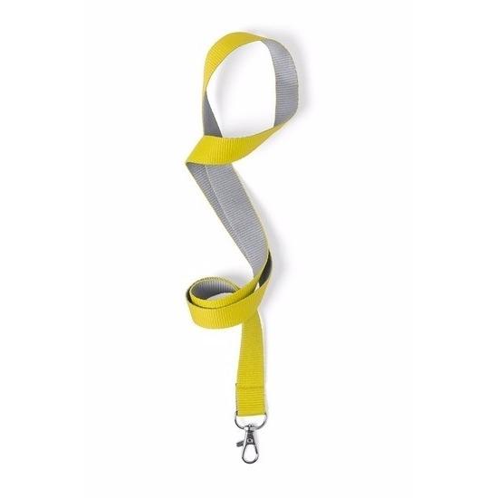 Keycord geel/grijs 50 x 2 cm
