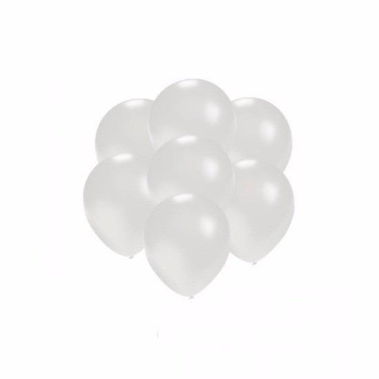 Kleine ballonnen wit metallic 200 stuks