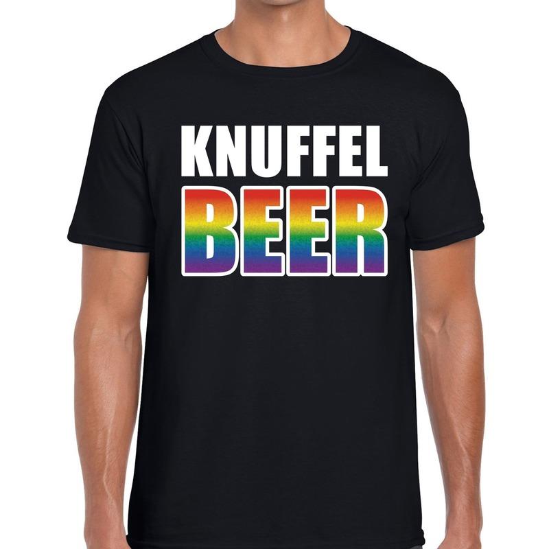 Knuffel beer gaypride shirt zwart voor heren