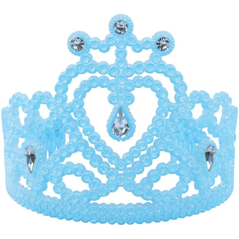 Merkloos Koninginnen/prinsessen tiara blauw