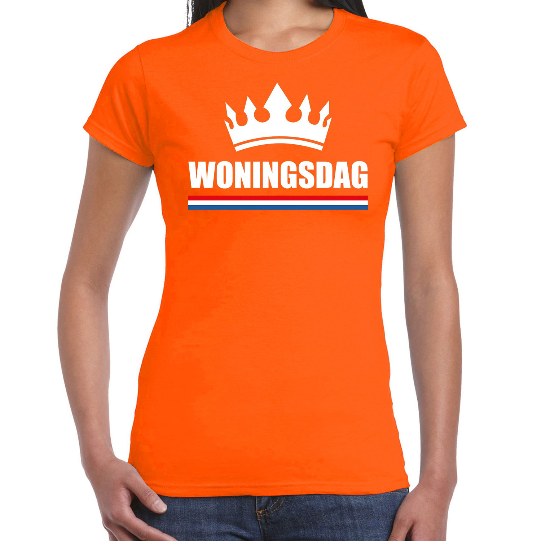 Koningsdag t-shirt Woningsdag oranje voor dames