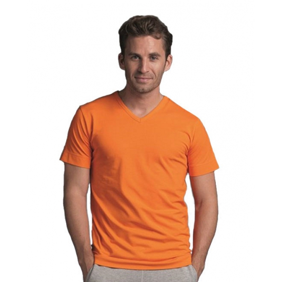 Korte mouwen V-hals oranje herenshirt