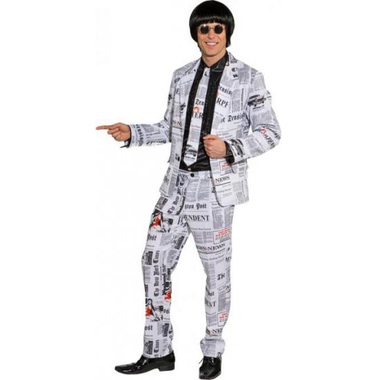 Krantenprint kostuum voor heren