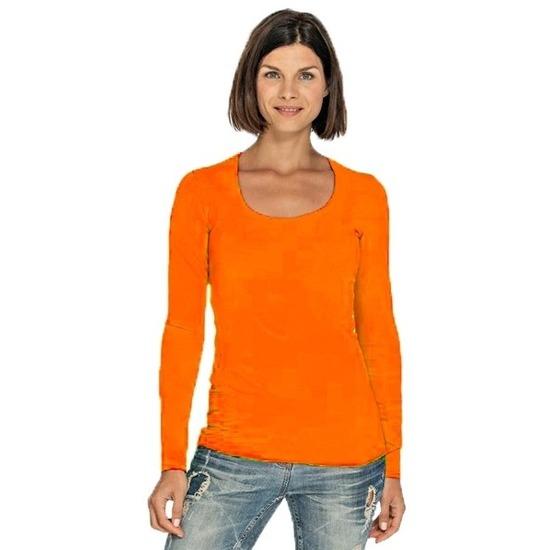 Lang longsleeve oranje dames shirt