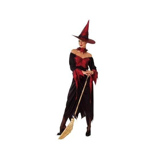Lange heksenjurk rood met zwart