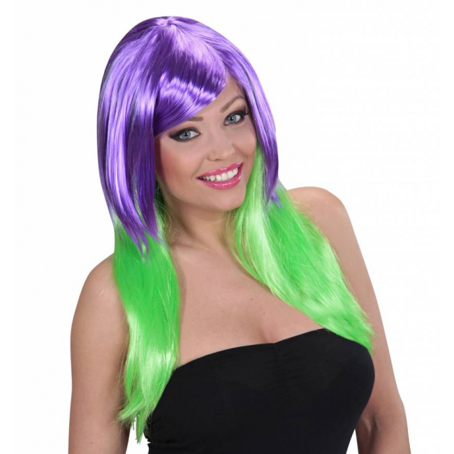Lange pruik met fel paars en groen haar