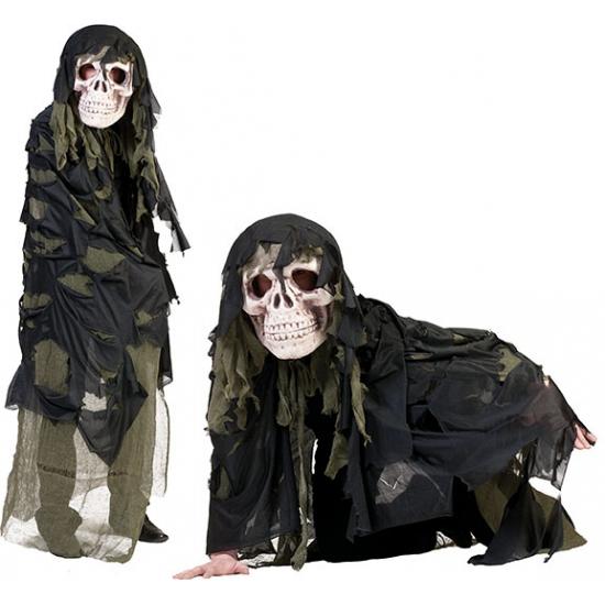 Legergroen doodshoofd spook kostuum