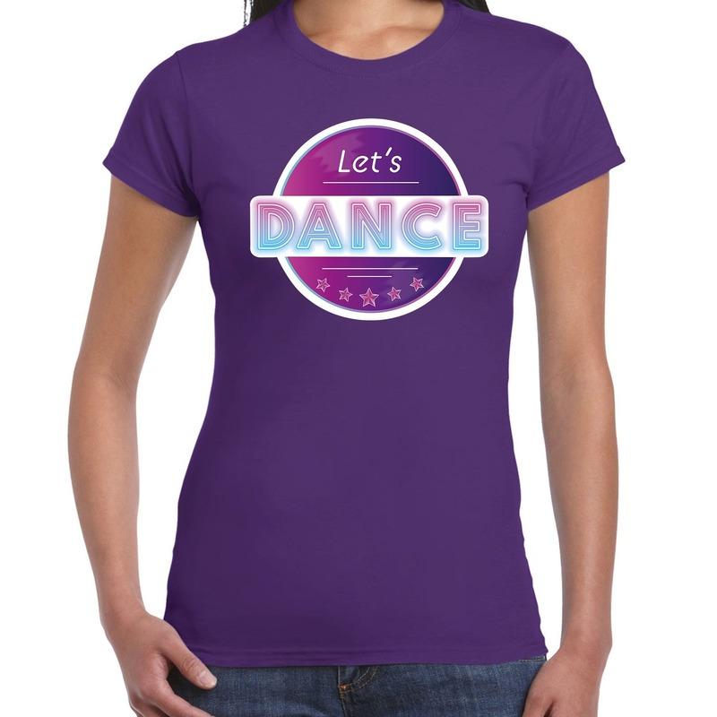 Lets Dance disco - feest t-shirt paars voor dames