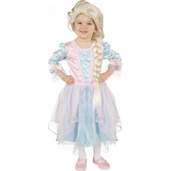 Lichtblauw met roze prinsessenjurk