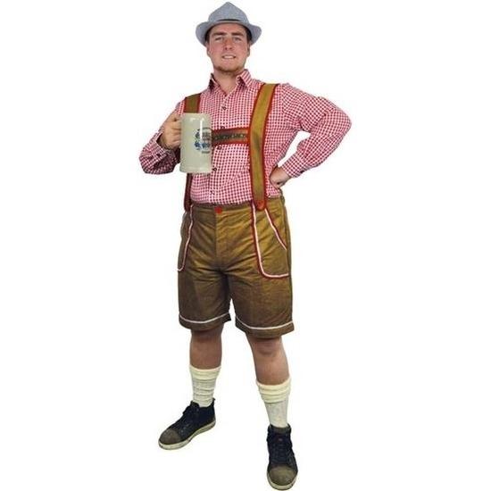 Lichtbruine Tiroler lederhosen verkleed kostuum/broek voor heren
