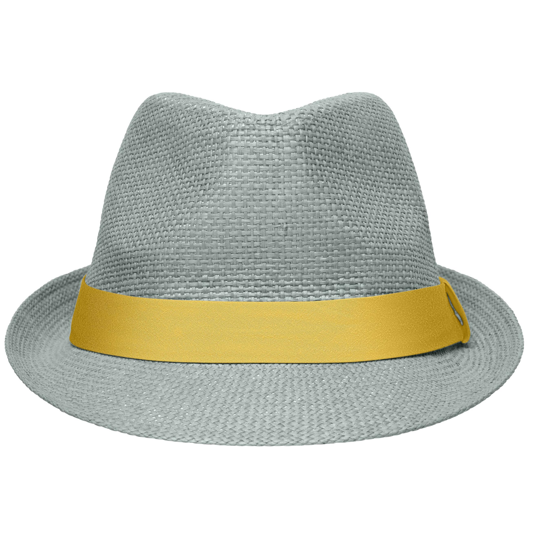 Lichtgrijs met geel trilby hoedje