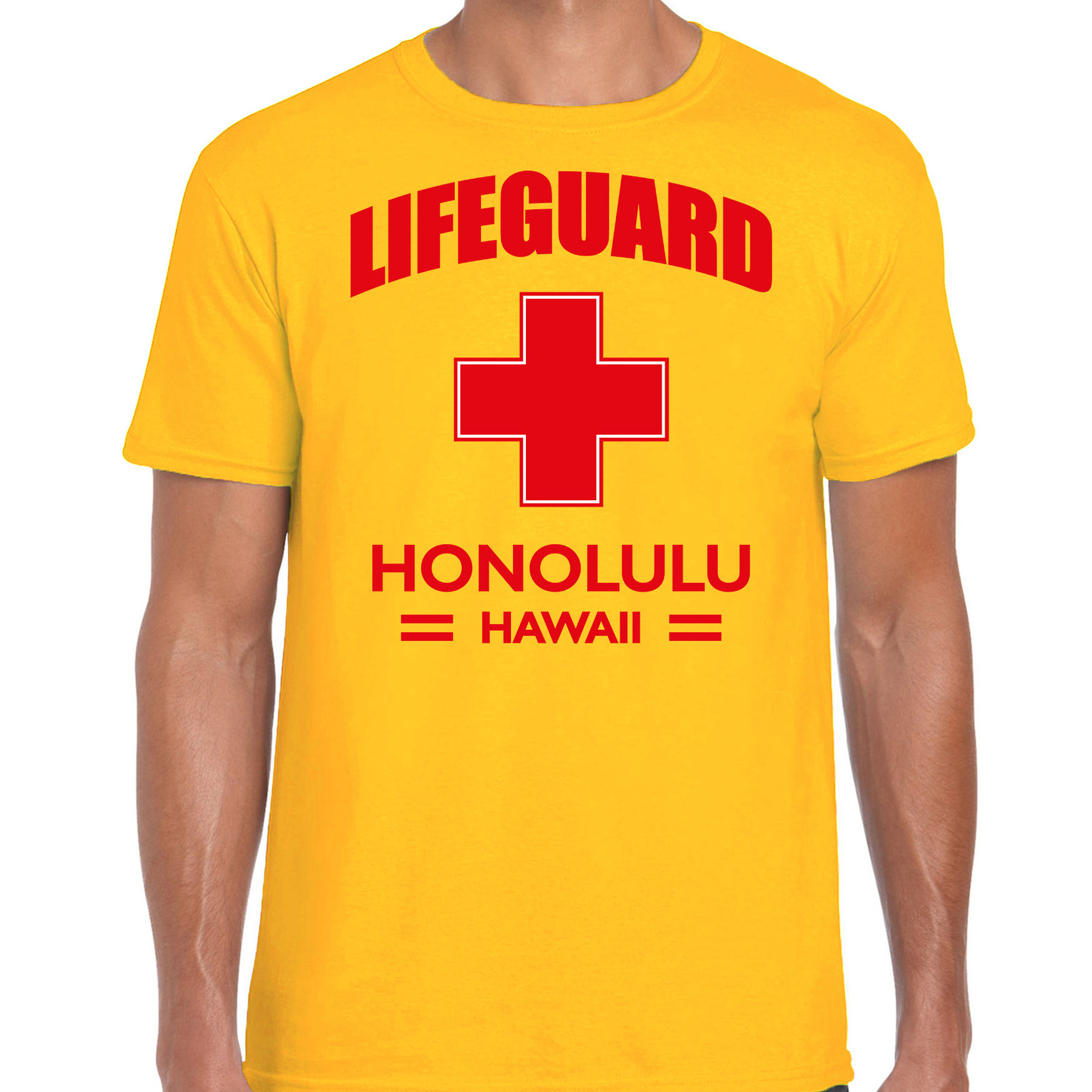 Lifeguard/ strandwacht verkleed t-shirt - shirt Lifeguard Honolulu Hawaii geel voor heren