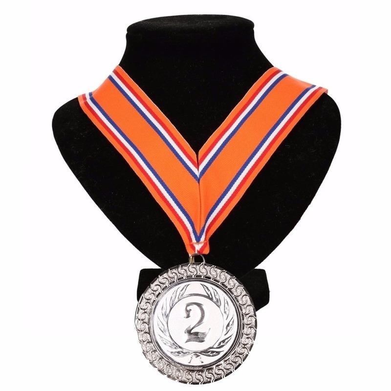 Lint oranje/rood/wit/blauw met zilveren medaille