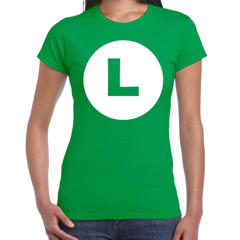Luigi loodgieter verkleed t-shirt groen voor dames
