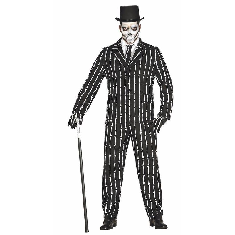 Luxe 3-delig skeletten kostuum voor heren
