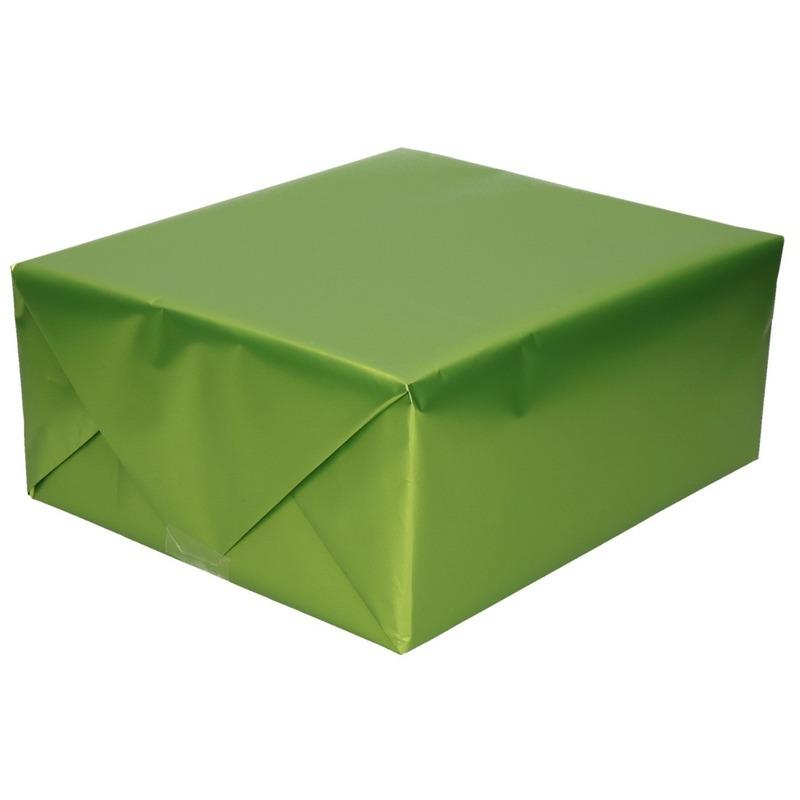 Luxe inpakpapier/cadeaupapier groen zijdeglans 150 x 70 cm