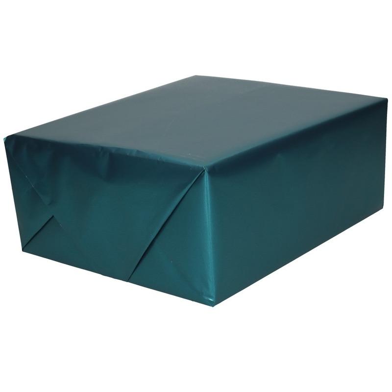 Luxe inpakpapier/cadeaupapier teal blauw zijdeglans 150 x 70 cm
