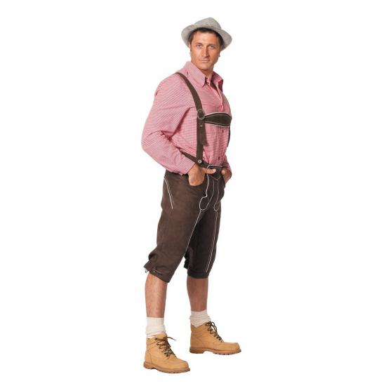 Luxe lange bruine Tiroler lederhosen verkleed kostuum voor heren