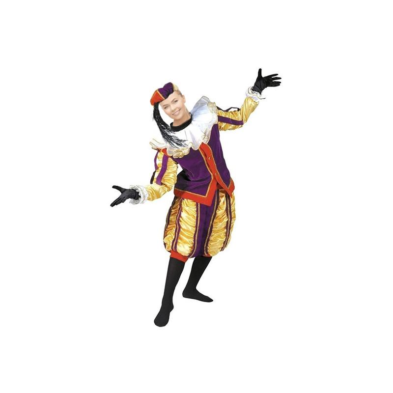 Merkloos Luxe roetveeg Pieten kostuum geel/paars voor dames en heren