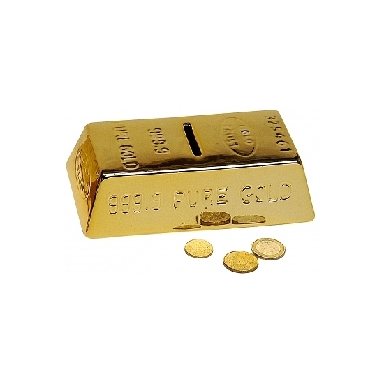 Luxe spaarpot in goudstaaf vorm