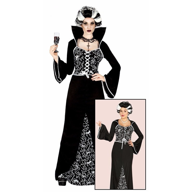Luxe vampieren halloween jurk zwart/wit voor dames