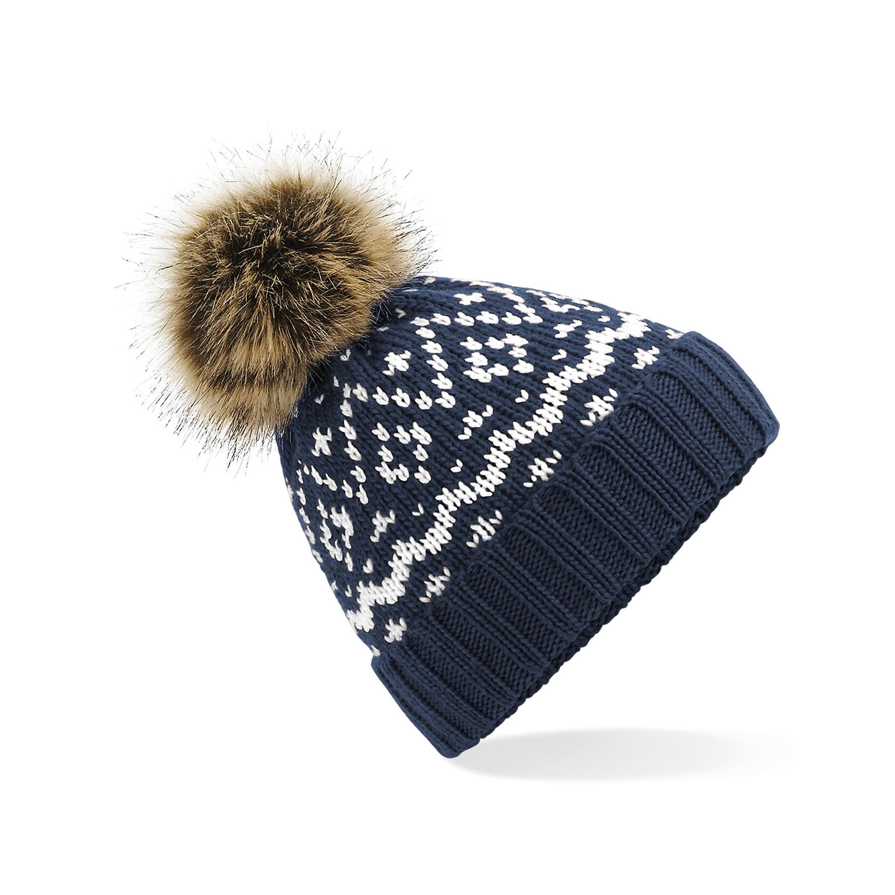 Luxe wintermuts met pom pom navy blauw