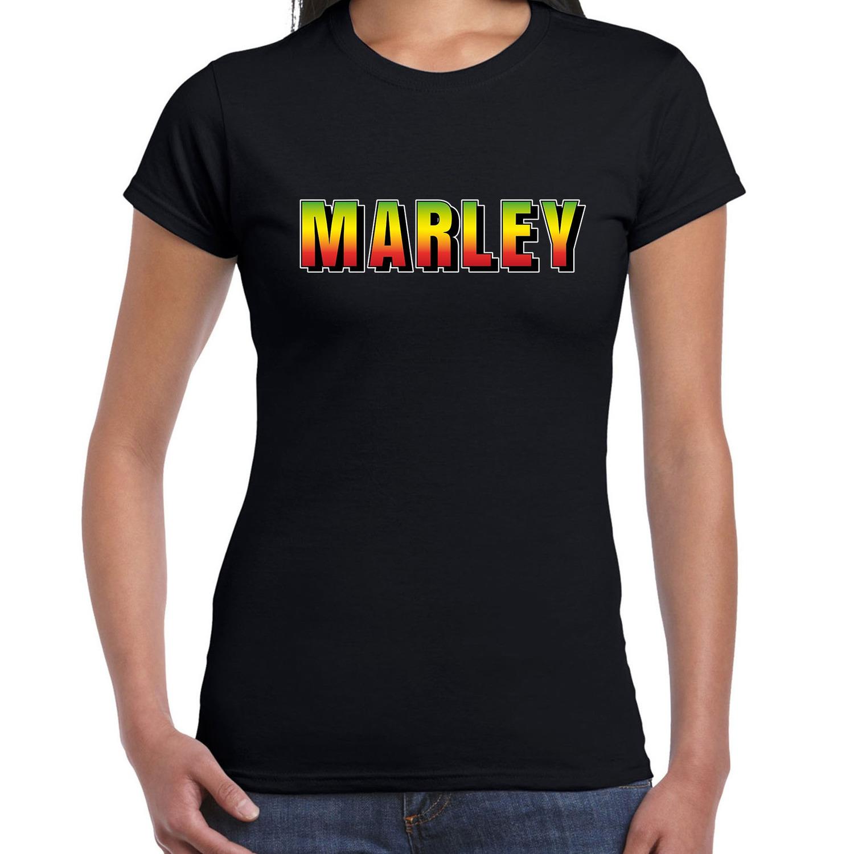 Marley fun tekst t-shirt zwart dames