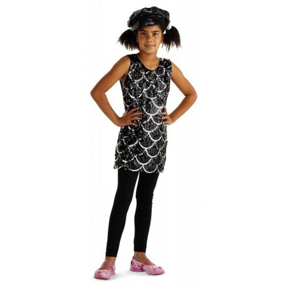 Meisjes jurken zwarte pailletten