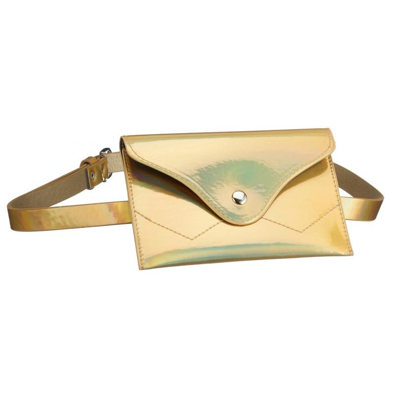Metallic goud mini heuptasje/buideltasje aan riem voor dames