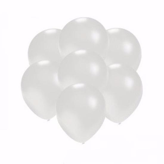 Metallic witte feestballonnen 75 stuks klein
