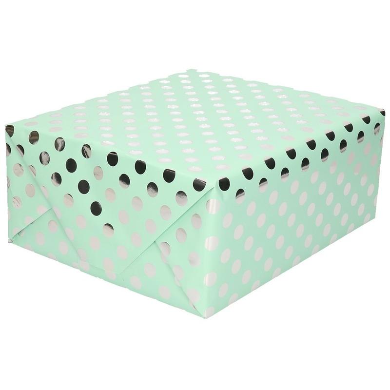 Mintgroene folie inpakpapier/cadeaupapier zilveren stip 200 x 70