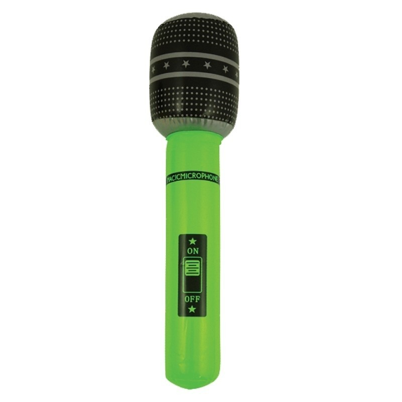 Neon groene opblaasbare microfoon 40 cm
