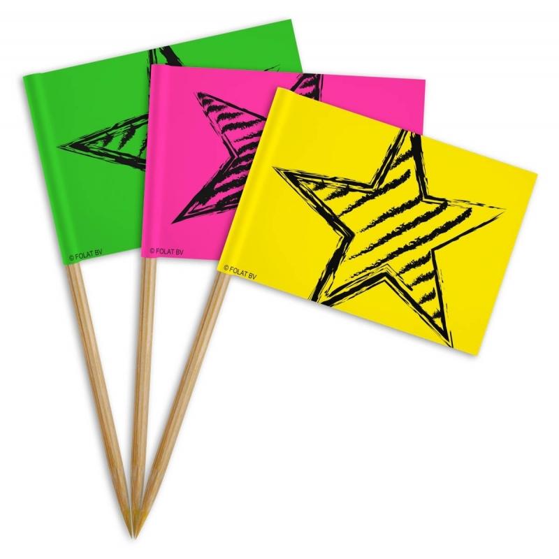 Neon kartonnen cocktailprikkers 72x stuks