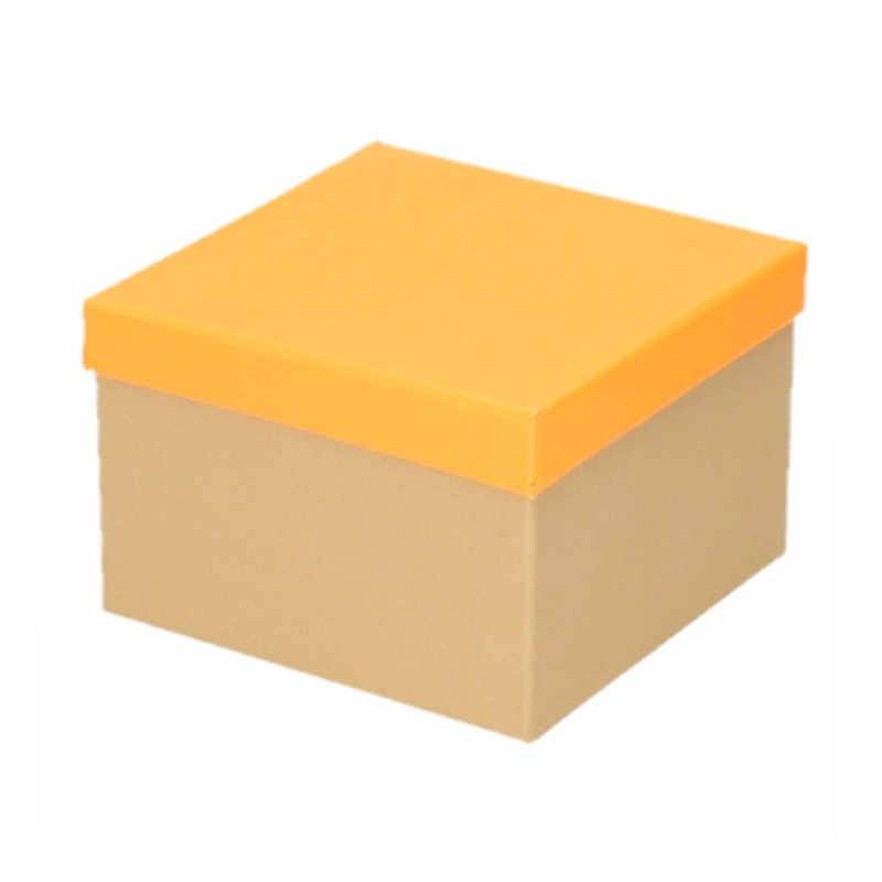 Neon oranje cadeaudoosje 15 cm vierkant