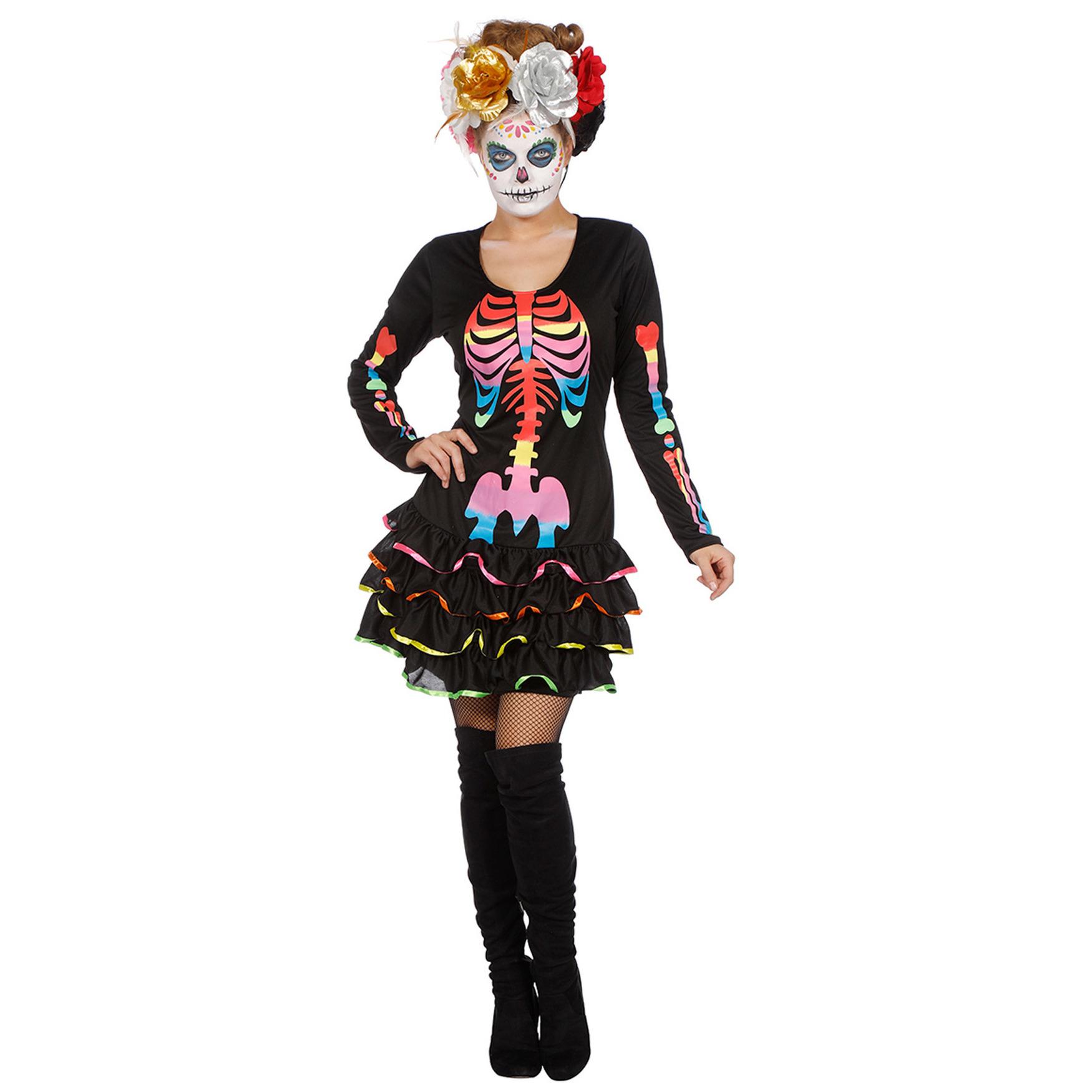 Neon skelet halloween jurkje voor dames