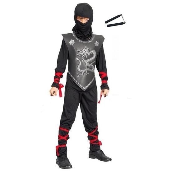 Ninja kostuum maat M met vechtstokken voor kinderen