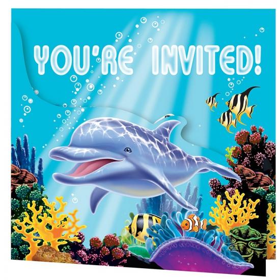 Oceaan thema uitnodigingen 8x stuks