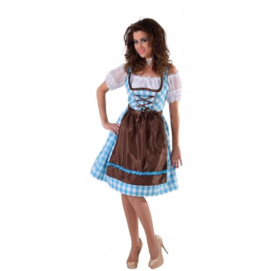 Oktoberfest - Blauwe Dirndl jurk met bruin schort