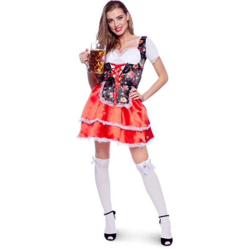 Oktoberfest - Rode/bloemen Tiroler dirndl verkleed kostuum/jurkje voor dames