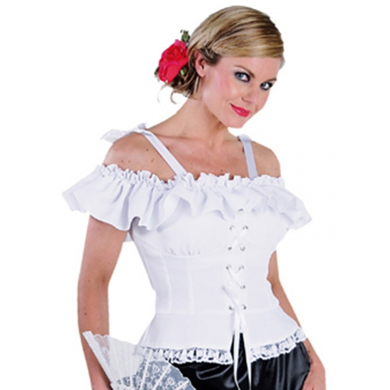 Oktoberfest - Tiroler blouse Carmen wit