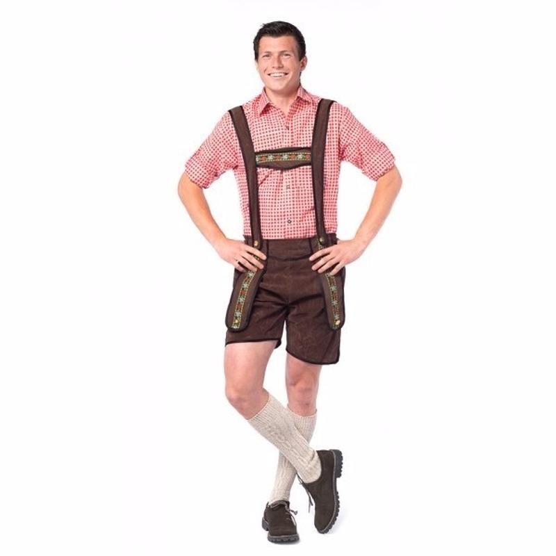 Oktoberfest - Voordelige donkerbruine korte lederhosen voor heren