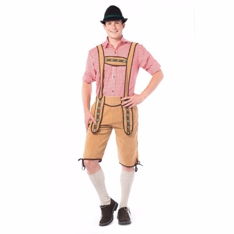 Oktoberfest - Voordelige lichtbruine lange lederhose voor heren