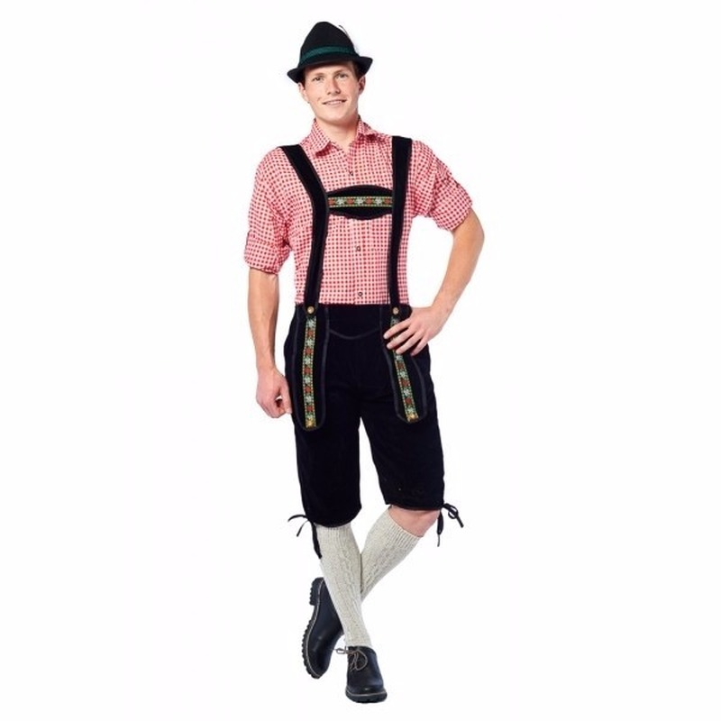 Oktoberfest - Voordelige zwarte lange lederhose voor heren