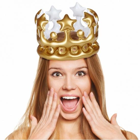 Merkloos Opblaasbare kroon goud 23 cm