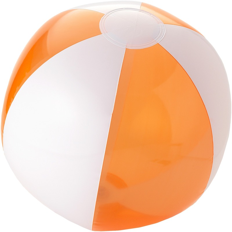 Opblaasbare strandbal oranje/wit 30 cm