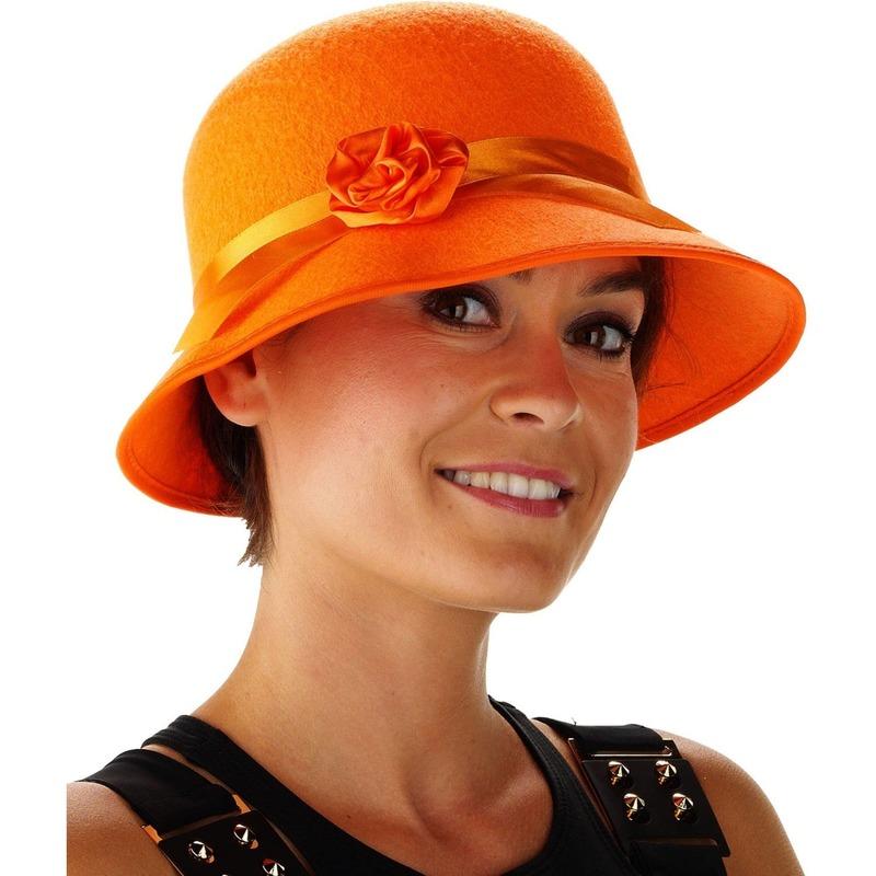 Oranje dames hoedje Bea met bloem