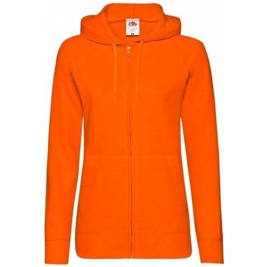 Oranje dames sweatvest met capuchon