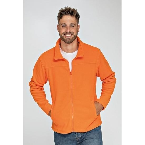Oranje fleece vest met rits voor volwassenen